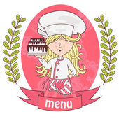 Cute girl chef cook with delicious cake on a tray menu background pattern of branches with leaves on the sides logo vector pink