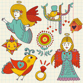 Vector hand drawn Doodle set Colorful hand drawn Doodle of cute angels and birds children's style