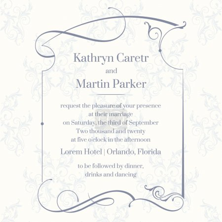 Classic design  page. Template cards. Wedding invitation.
