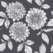 Silhouette white dahlia Seamless pattern