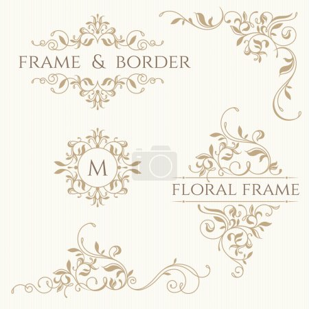 Illustration for Set of decorative  borders and monograms. Template signage, labels, stickers, cards. Graphic design page. Classic design elements for wedding invitations. - Royalty Free Image