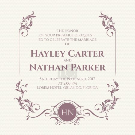 Wedding invitation. Decorative floral frame and monogram.