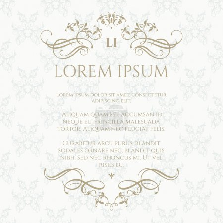 Template cards. Floral monogram and  border with calligraphic elements.