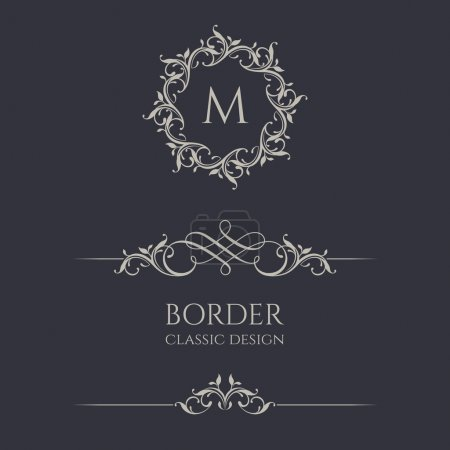 Floral monograms and borders for cards, invitations, menus, labels.