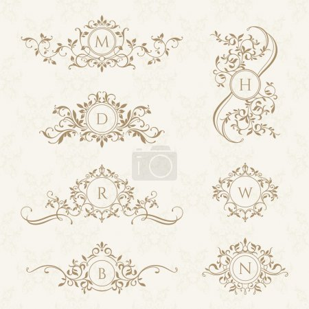 Illustration for Monograms collection for cards, invitations. Graphic design pages, boutiques, cafes, hotels. Classic design elements for wedding invitations. - Royalty Free Image