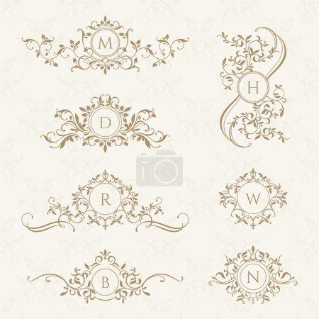 Decorative vector monograms.