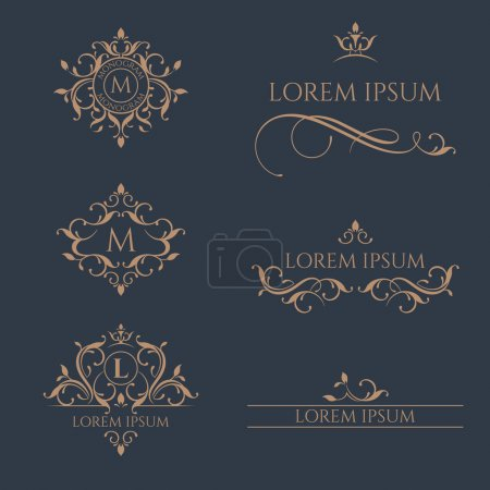 Illustration for Floral monograms and borders, frames for cards, invitations, menus, labels. Graphic design pages, business sign, boutiques, cafes, hotels. Classic design elements for wedding invitations. - Royalty Free Image