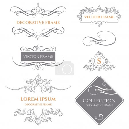 Illustration for Collection of decorative frames and borders.Vector frame. Calligraphic elements. Template signage, logos, labels, stickers, cards. Graphic design page. - Royalty Free Image