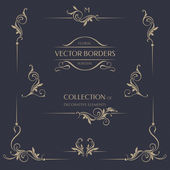 Set of decorative  borders corners Template signage logos labels stickers cards Graphic design page Floral borders Classic design elements for wedding invitations