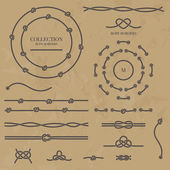 Vector set nautical elements of the rope Rope frames borders and knots Decorative elements in marine style