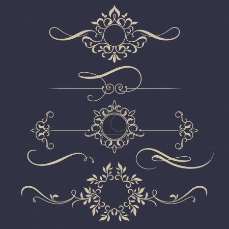 Illustration for Decorative monograms and calligraphic borders. Template signage, logos, labels, stickers, cards. Graphic design page. Classic design elements for wedding invitations. - Royalty Free Image
