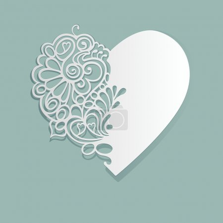 Illustration for White heart made of paper. Cut lace pattern. - Royalty Free Image