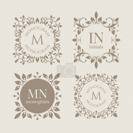Illustration for Floral monograms for cards, invitations, menus, labels. Graphic design pages, business sign, boutiques, cafes, hotels. Classic design elements for wedding invitations. - Royalty Free Image