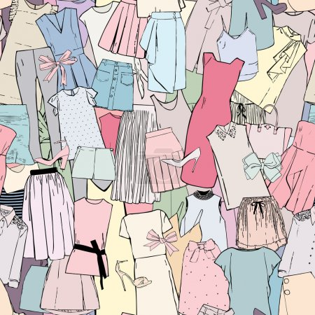 Pattern with pictures of clothes and accessories, dresses, blouses and tops, skirts, shorts, shoes, bags and bows