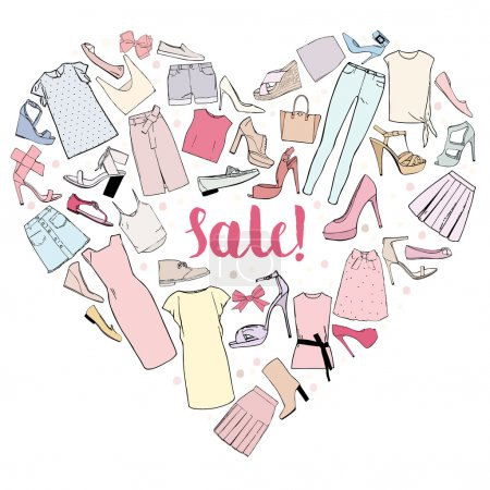 Sale, heart of women clothing, shoes and bows. Vector