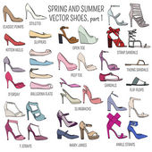 Set of vector women spring and summer shoes isolated on white background