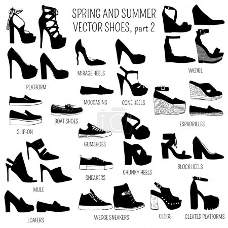 Set of vector women spring and summer shoes isolat...