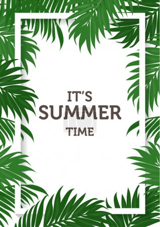 Illustration for Summer background, palm leaves and nature concept. vector illustration - Royalty Free Image