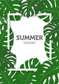 Summer background palm leaves and nature concept vector illustration