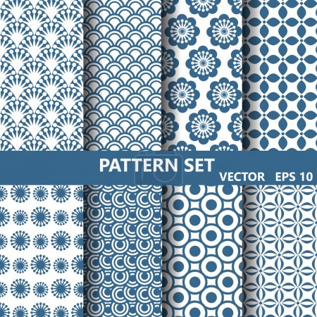 blue flowers nad curevs  pattern set