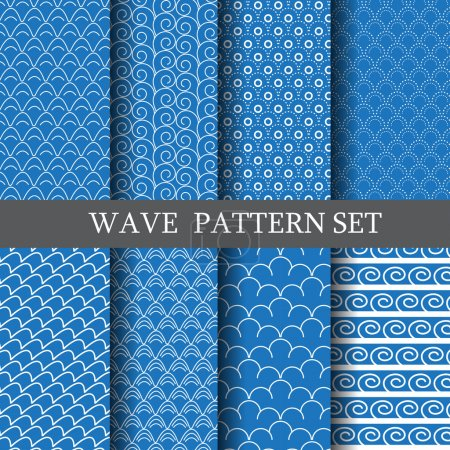 Illustration for Waves pattern set  vector. Endless texture can be used for wallpaper, pattern fills, web page background,surface texture - Royalty Free Image
