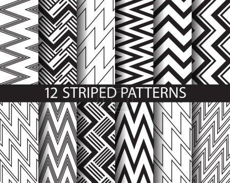 Illustration pour 12 motifs rayés noirs et blancs, Pattern Swatches, vecteur, texture infinie peut être utilisé pour le papier peint, remplissage de motifs, page Web, fond, surface - image libre de droit