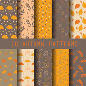 10 autumn patterns vector endless texture for wallpaper fill web page background texture