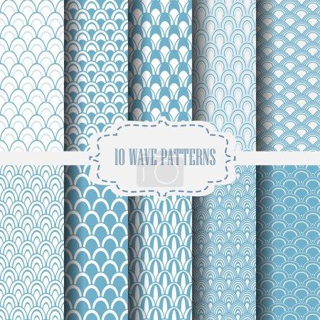 10 Wellenmuster blau