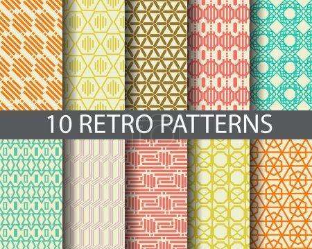 Illustration for 10 retro patterns,  Pattern Swatches, vector, Endless texture can be used for wallpaper, pattern fills, web page,background,surface - Royalty Free Image