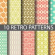 10 retro patterns,  Pattern Swatches, vector, Endl...