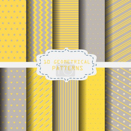 Illustration for 10 different yellow and gray patterns. Endless texture can be used for wallpaper, pattern fills, web page background,surface textures. - Royalty Free Image