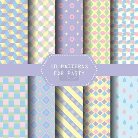 10 different geometric patterns.