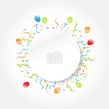 Ilustración de Marco de círculo festivo de celebración, fondo con confeti, banderines colgantes y texto de globo se puede añadir, ilustración vectorial - Imagen libre de derechos