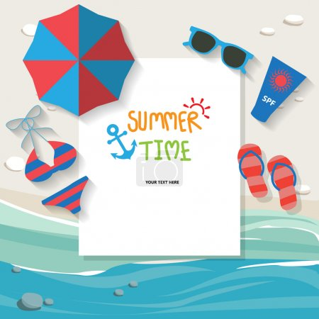 Illustration for Summer vacation background, text can be add for advertising, wallpaper, greeting card - Royalty Free Image