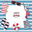 Summer vacation background, sailor concept, text c...