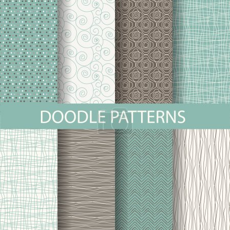 Illustration for 8 different beautiful doodle, dot patterns. Endless texture can be used for wallpaper, pattern fills, web page background,surface textures,tile, greeting card, scrapbook, backdrop - Royalty Free Image