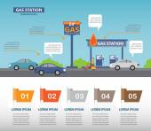 Gas station infographics elements and backround Can be used for business data web design brochure template one page design vector illustration