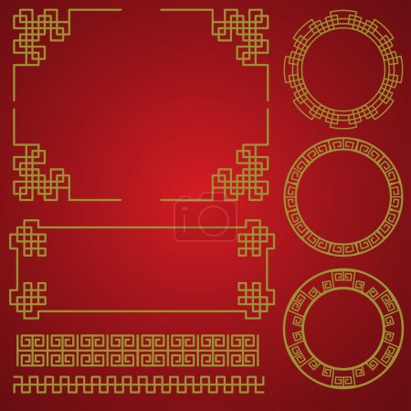 Illustration for Chinese traditional border and frame template. gold and red classic chinese pattern. vector illustration - Royalty Free Image
