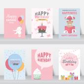 Birthday holiday christmas greeting and invitation card  there are balloons gift boxes confetti cup cake vector illustration