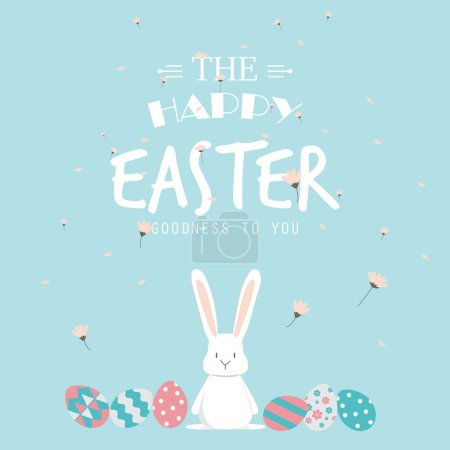 Illustration for Happy easter day. cute bunny Ears with eggs and text  logo on sweet blue background, can be use for greeting card, text can be added.  vector illustration - Royalty Free Image