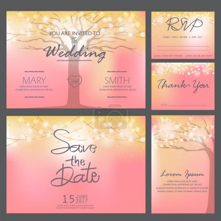 Illustration for Wedding invitation cards and Thank you cards  templates, lights and trees concept. vector illustration - Royalty Free Image