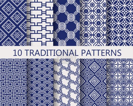 Illustration for 10 different chinese vector patterns. Endless textures can be used for wallpaper, pattern fills, web page background,surface textures. - Royalty Free Image