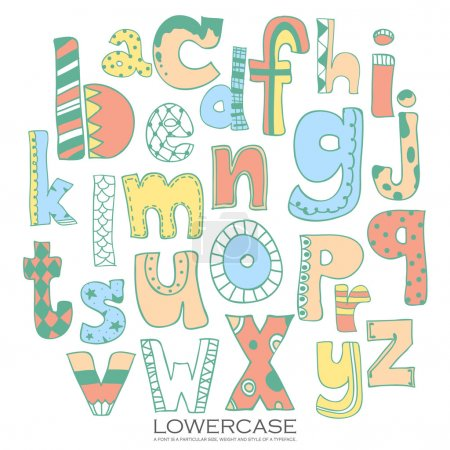 Pink blue yellow colorful ink alphabet letters.Hand drawn writte