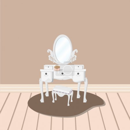 white dressing table with relate mirror and stool