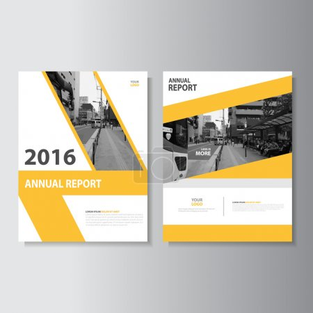 Illustration for Yellow Leaflet Brochure Flyer template A4 size design, annual report book cover layout design, Abstract yelow presentation templates - Royalty Free Image