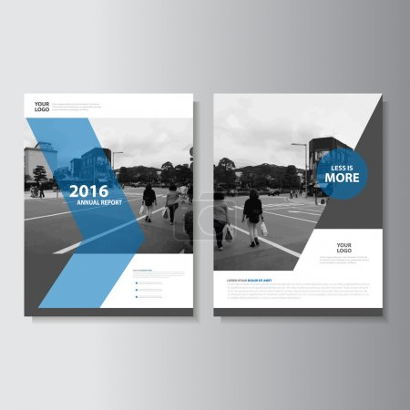 Illustration pour Vecteur dépliant Brochure Flyer modèle A4 taille conçoivent, rapport annuel design mise en page couverture de livre, modèles de présentation abstrait bleu - image libre de droit