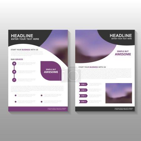 Illustration pour Purple Vector Business proposal Brochure Brochure Conception de modèle de dépliant, conception de mise en page de couverture de livre, modèles de rapport annuel de présentation violet abstrait - image libre de droit