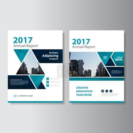 Illustration pour Triangle vert Rapport annuel vectoriel Brochure Brochure Modèle de dépliant, conception de mise en page de couverture de livre, modèles de présentation vert abstrait - image libre de droit