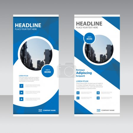 Blue Business Roll Up Banner flat design template ,Abstract Geometric banner Vector illustration set