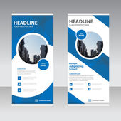 Blue Business Roll Up Banner flat design template Abstract Geometric banner Vector illustration set